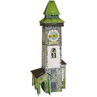 """Сборная игровая модель из картона """"Башня с часами""""."""