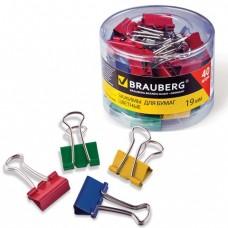 Зажимы для бумаг BRAUBERG, 19мм, на 60л., цветные, в карт. упаковке.