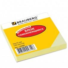 Блок самоклеящ. BRAUBERG 76*76 мм 100л., желтый