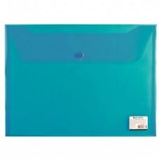 Папка-конверт с кнопкой BRAUBERG А4, прозрачная, до 100 листов, синяя