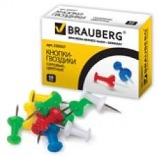 Силовые кнопки-гвоздики BRAUBERG цветные, 50шт., в карт. коробке