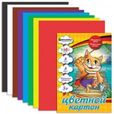 """Цветной картон BRAUBERG """"Кот-рыболов"""",А4 8л., 8цв."""