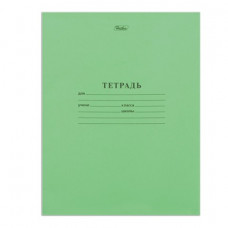 Тетрадь 12л. Зеленая обложка, косая линия с полями