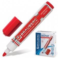 Маркер для доски BRAUBERG с клипом, круглый наконечник 5 мм, красный