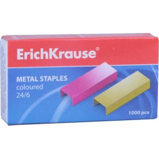 Цветные скобы ErichKrause, 24/6, 1000 шт.