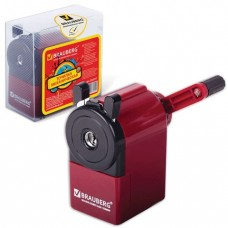 Точилка механическая BRAUBERG металлический механизм, черный/бордовый.