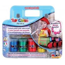 """Краски гуашевые """"Toy Color"""", легкоотмывающиеся, в чемоданчике, 6цв.+ кисть"""