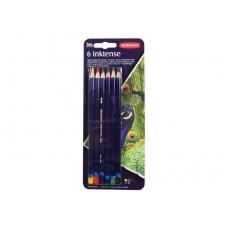 """Набор чернильных карандашей Derwent """"Inktense"""", водорастворимый грифель, круглый корпус 8 мм, грифель - 4 мм, 6цв."""