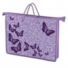"""Папка-сумка BRAUBERG """"Бабочки"""" на молнии с веревочными ручками А4, пластик."""