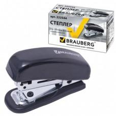 """Степлер BRAUBERG """"Nero"""", №10 мини, до 12 л, метал. корпус, метал. мех, встроен антистеп, черный."""