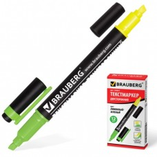 Текстмаркер BRAUBERG двусторонний, скошенный наконечник 1-4 мм, лимонный/зеленый.