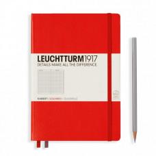 Книга для записей MEDIUM A5, красный, 249стр, КЛЕТКА. Leuchtturm1917