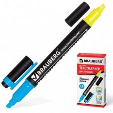 Текстмаркер BRAUBERG двусторонний, скошенный наконечник 1-4 мм, лимонный/голубой.