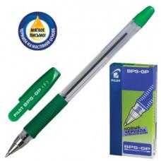 Ручка шар. масляная PILOT BPS-GP-F-G, корпус зеленый, с резиновым упором 0,7 мм, зеленая.