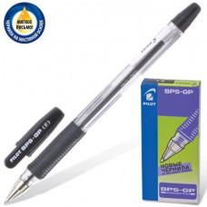 Ручка шар. масляная PILOT BPS-GP-F, корпус черный, с резиновым упором 0,7 мм, черная.