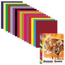 Цветная бумага HATBER VK, Тигр. А4 двусторонняя, 16 л., 16 цв.