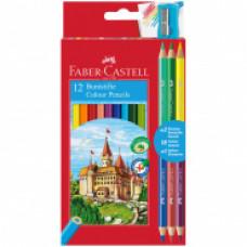 Карандаши цветные Faber-Castell, 12цв.+4, заточен., картон, европодвес, с точилкой