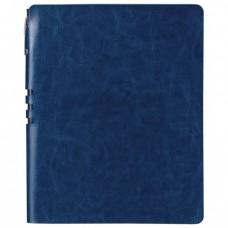 """Бизнес-тетрадь BRAUBERG """"NEBRASKA"""", А5+, 175x215 мм, кожзам, клетка, 120 листов, ручка, темно-синий"""