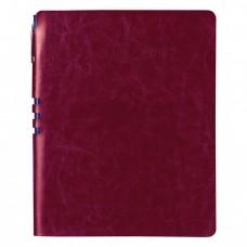 """Бизнес-тетрадь BRAUBERG """"NEBRASKA2, А5+, 175x215 мм, кожзам, клетка, 120 листов, ручка, бордовый"""
