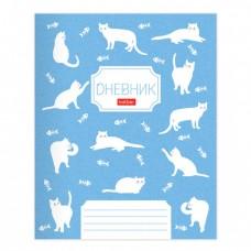 "Дневник 1-11 класс 40 л., обложка картон, на скобе, фактурное тиснение, ""Кошечки"", HATBER"