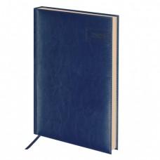 """Ежедневник датированный 2020 А4, BRAUBERG """"Imperial"""", гладкая кожа, кремовый блок, тёмно-синий"""