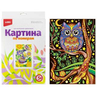 """Картина по номерам Lori """"Сова"""" A4, с акриловыми красками, картон, европодвес"""