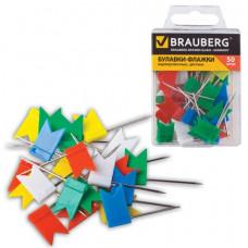 Булавки-флажки маркировочные BRAUBERG, цветные, 50 шт.
