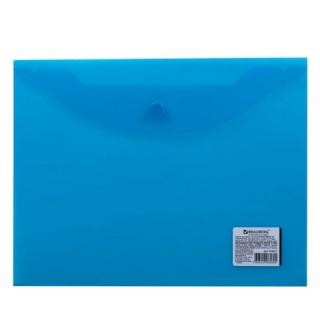 Папка-конверт с кнопкой BRAUBERG, А5, 240х190 мм, 150 мкм, прозрачная, синяя