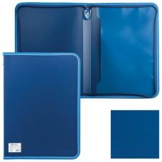 "Папка на молнии пластиковая BRAUBERG ""Contract"", А4, 335х242 мм, внутренний карман, синяя"